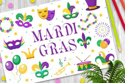 Mardi Gras carnival set  icons, design element