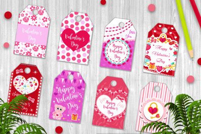 Happy Valentine s Day tags set in the shape of a heart. Labels