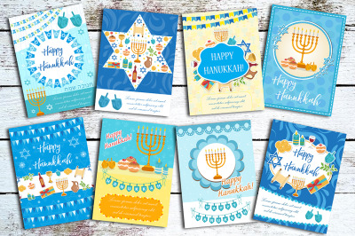 Happy Hanukkah set of greeting cards, flyer, poster