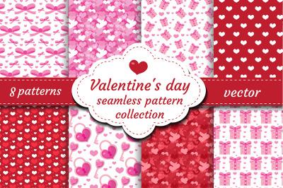 Happy Valentine's Day seamless pattern set