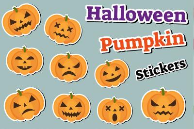 Halloween pumpkin set of stickers emoji, patches badges
