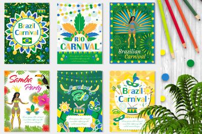 Welcome Brazil carnival set poster, invitation