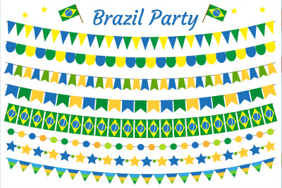 Brazil garland set. Brazilian Festive decorations bunting