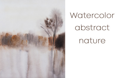 watercolor nature and abstract landscape with autumn weather