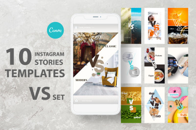 10 Instagram story canva template. VS or versus