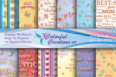 Happy Mothers Day Digital Papers, Mothers Day Scrapbook Papers, Floral