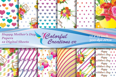 Happy Mothers Day Digital Papers, Mothers Day Digital Papers, Hearts,