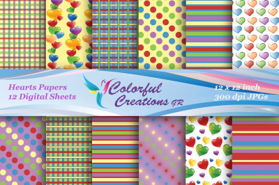 SALE Hearts Digital Paper, Heart Paper, Polka Dot, Stripes, Plaid, Scr