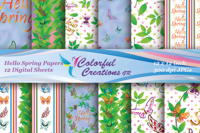 Hello Spring Digital Papers, Floral Pattern Papers, Spring Digital Pap