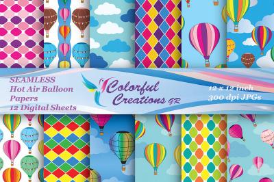 Hot Air Balloon SEAMLESS Set Digital Paper, Hot Air Ballons, Diamond P