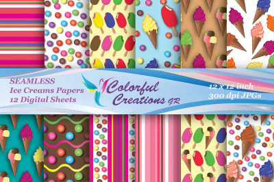 Ice Cream Seamless Set Digital Papers, Ice Creams, Stripes, Candies, S