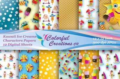 Kawaii Digital Papers, Summer Digital Papers, Ice cream Characters Scr