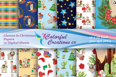 Christmas Digital Papers, Llamas in Christmas  Digital Images, Christm