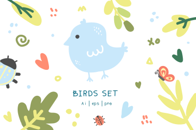 bird and leaves