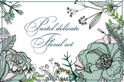 Pastel delicate floral set