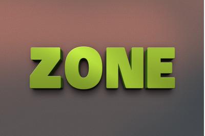 Zone 3D Text Effect PSD