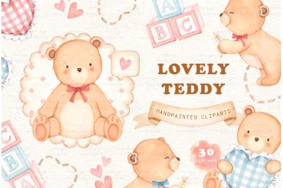 Lovely Teddy Bear Watercolor Clipart