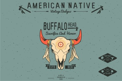 Native American Vintage Badges (EDITABLE)