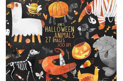 Watercolor Halloween Animals Set