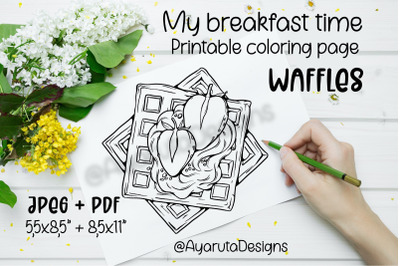 Coloring page PRINTABLE. Breakfast waffles colouring sheet