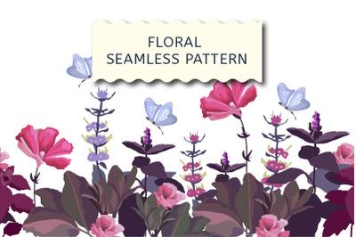 Floral seamless border, pink, purple flowers
