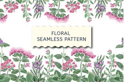 Vector floral seamless border, aroma herbs.