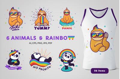 Animals with a rainbow