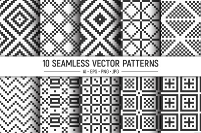 10 seamless geometric pixel squares vector patterns
