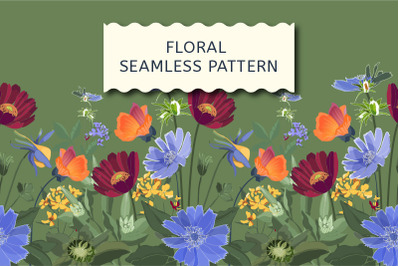 Floral seamless border on green.