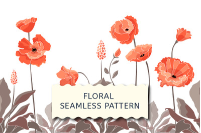 Floral seamless border with California poppy flowers.