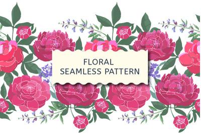 Floral seamless border. Pink peonies.