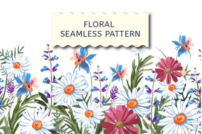 Floral seamless border with marigold