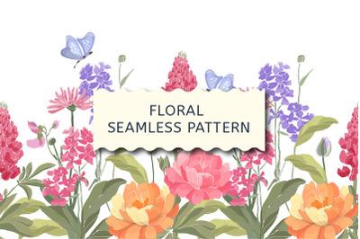 Floral border. Spring flowers.