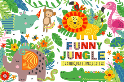 Funny jungle animals collection