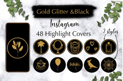 Instagram Highlight Covers Gold Glitter with Black
