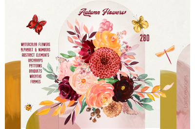 Autumn Flowers. Modern Watercolors