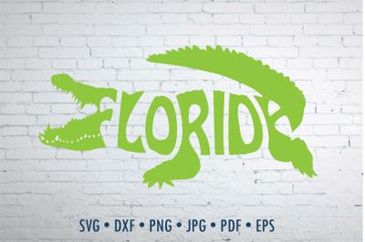 Florida in alligator shape Word Art, svg, png, cut file