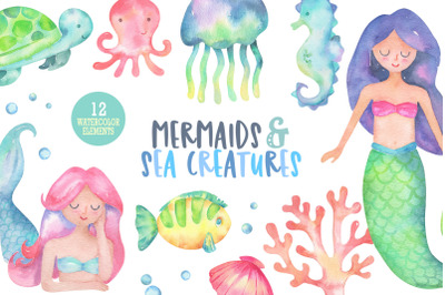 Mermaids and sea creatures, ocean