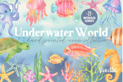Underwater world, watercolor ocean, sea fish, jellyfish, turtle, coral