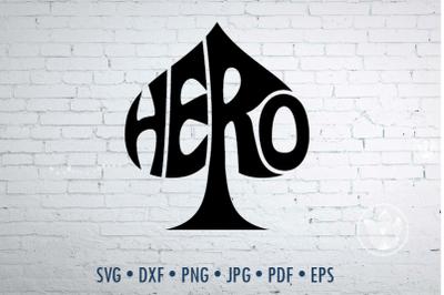 Hero Word art Svg Dxf Eps Png Jpg, cut file
