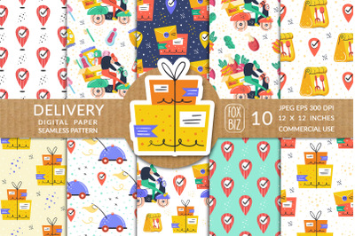 Delivery prints. Vector seamless patterns, digital paper.