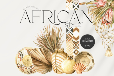 African ethnic boho style. Watercolor collection