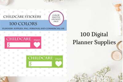 100 Colors Childcare Planner Stickers, Daycare Payment Due Stickers