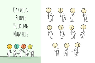 Cartoon people with numbers