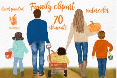 Family clipart Autumn Family clipart Pumpkin Thanksgiving