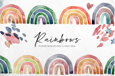 RAINBOWS. Watercolor abstract collection