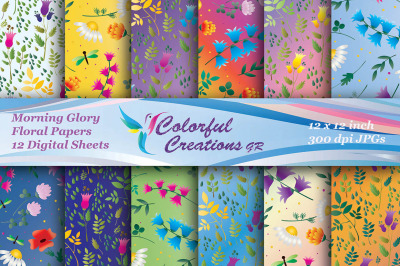 Morning Glory Pattern Digital Paper, Spring Digital Papers, Floral Pap