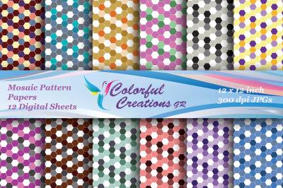 Mosaic Digital Papers, Mosaic Pattern, Honeycomb Hexagonal Paper, Scra