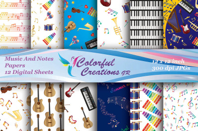 Music and Notes Digital Papers, Musical Instruments Paper, Piano, Guit