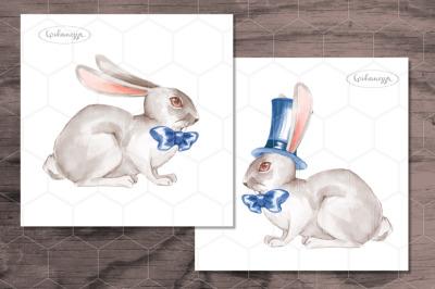 Rabbits. Watercolor